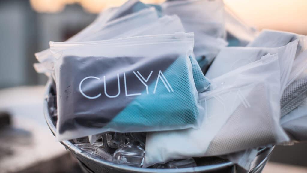 CULYA 16 grad Kühltuch Kühltücher Kühlhandtuch blau. Nutzbar als Sporthandtuch Fitnesshandtuch Reisehandtuch After-Sun-Tuch Sonnenschutz